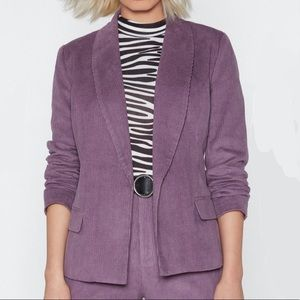 Nasty Gal Suited and Booted Plum Corduroy Blazer